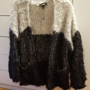 Express black and white feather cardigan